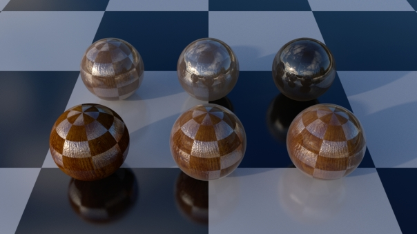 Multiple layers with different weights and selective bump mapping applied.