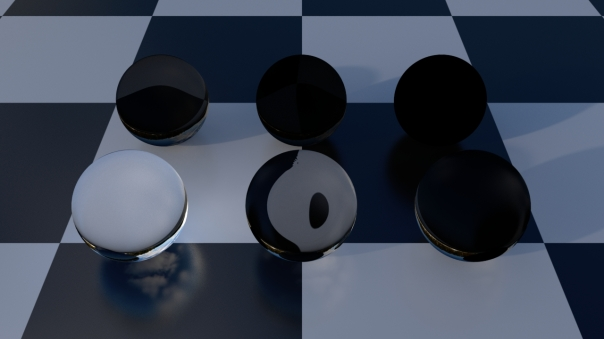 Specular transmission attenuated by grey color to black.